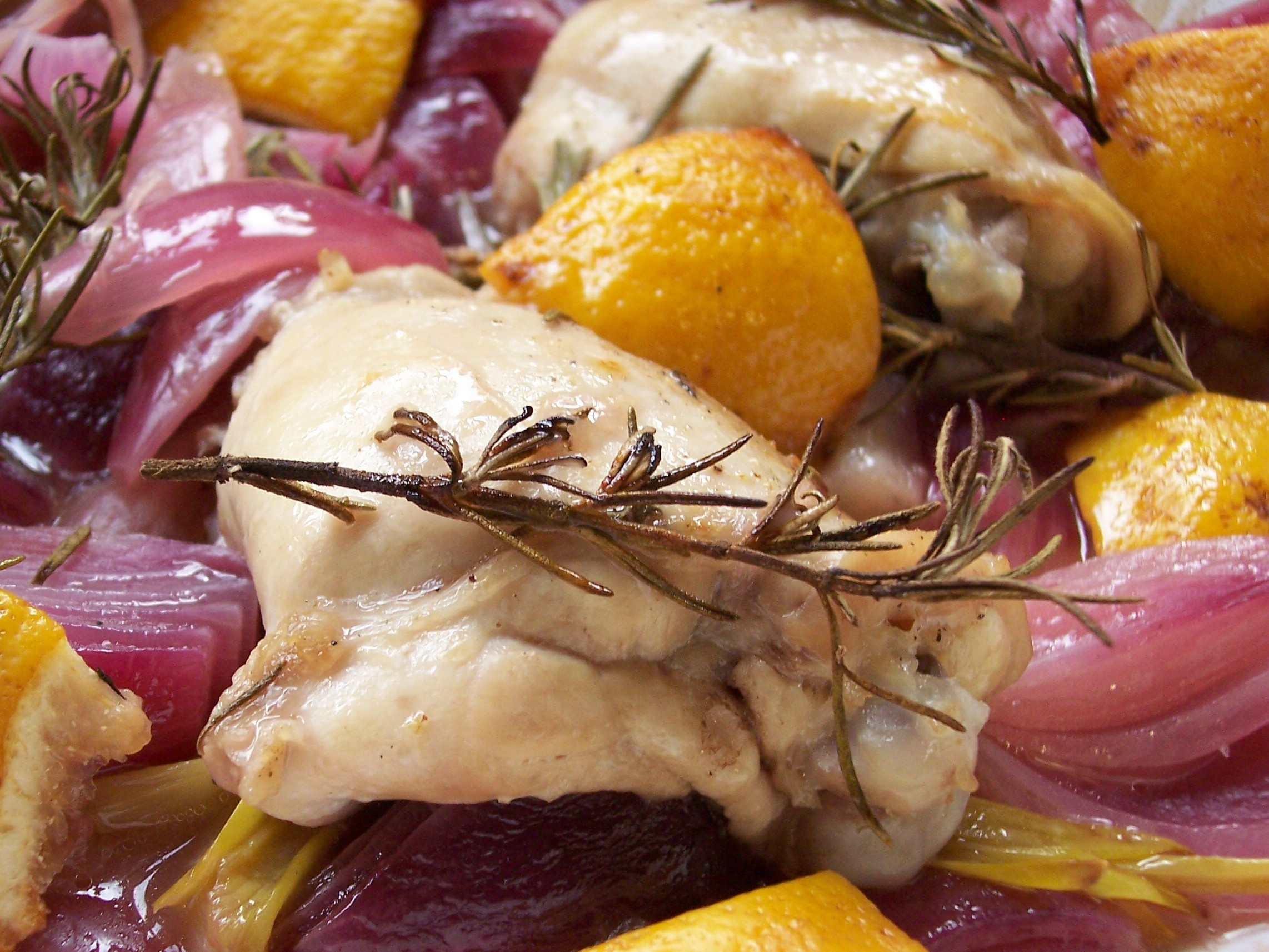 Lemon And Onion Roasted Chicken Recipe — Dishmaps